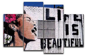 Banksy Life is Beautiful 4 Split Panel Canvas  - Canvas Art Rocks - 1