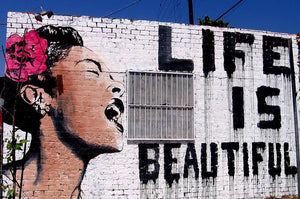 Banksy Life is Beautiful Wall Mural Wallpaper - Canvas Art Rocks - 1