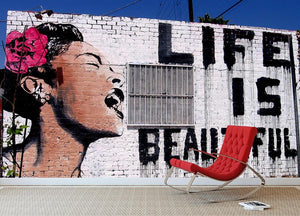 Banksy Life is Beautiful Wall Mural Wallpaper - Canvas Art Rocks - 2