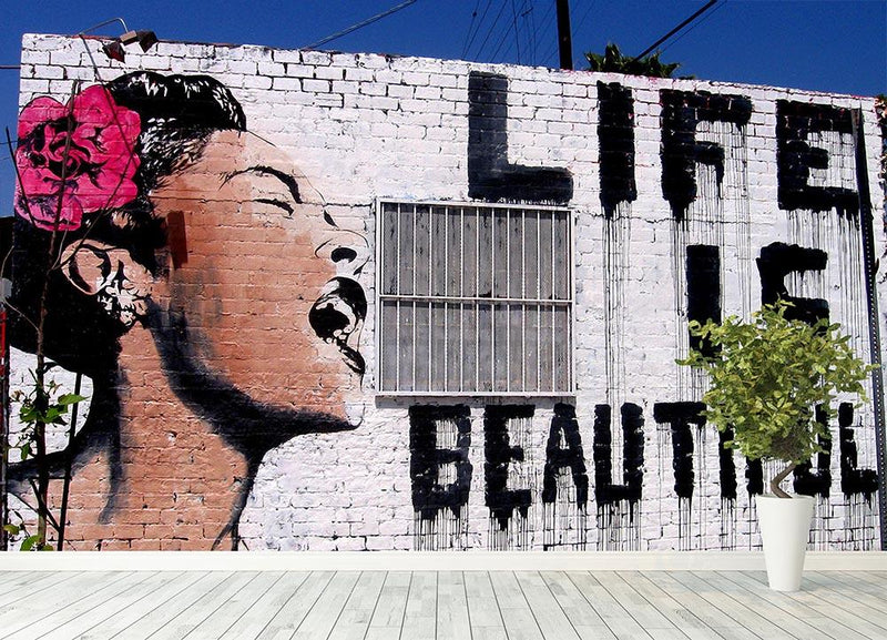 Banksy Life is Beautiful Wall Mural Wallpaper - Canvas Art Rocks - 4