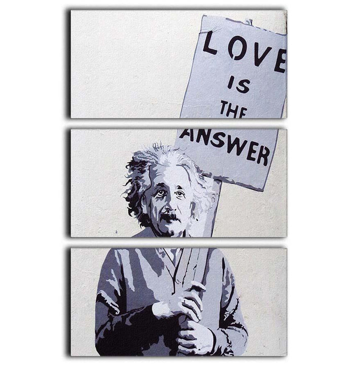 Banksy Love Is The Answer 3 Split Panel Canvas Print