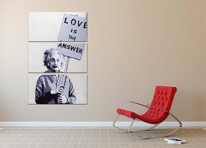 Banksy Love Is The Answer 3 Split Panel Canvas Print - Canvas Art Rocks - 2