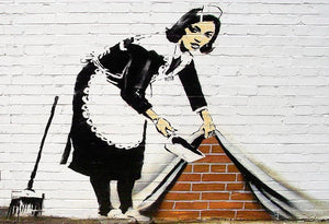 Banksy Maid Sweeping Under the Carpet Wall Mural Wallpaper - Canvas Art Rocks - 1