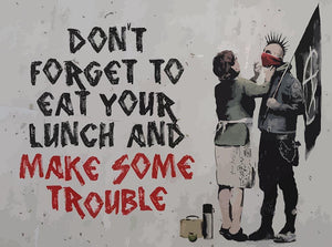 Banksy Make Some Trouble Wall Mural Wallpaper - Canvas Art Rocks - 1