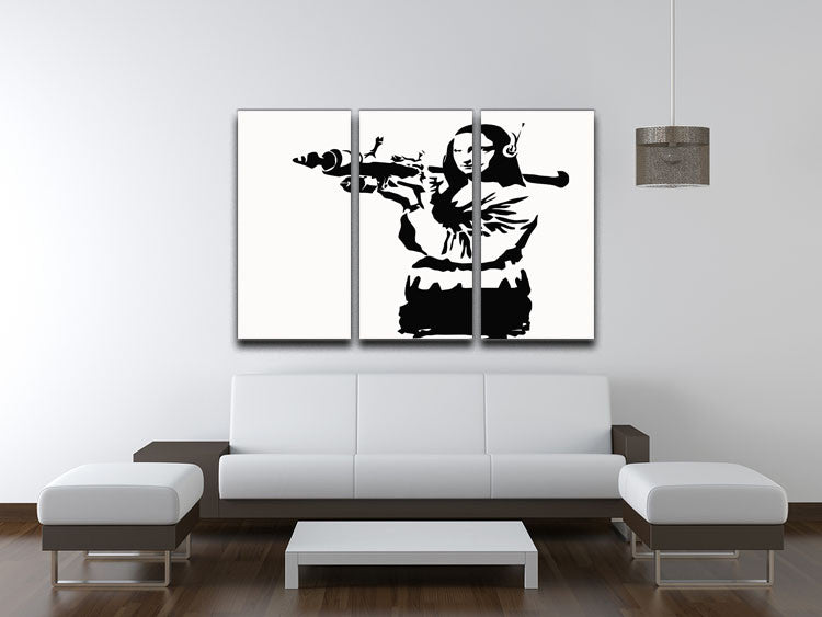Banksy Mona Lisa Rocket Launcher 3 Split Panel Canvas Print - Canvas Art Rocks
