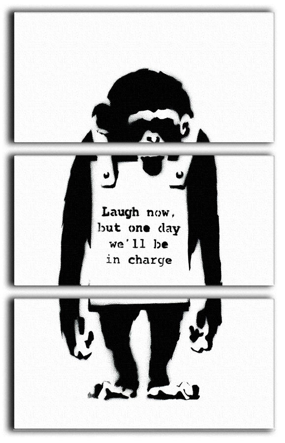 Banksy Laugh Now 3 Split Panel Canvas Print - Canvas Art Rocks