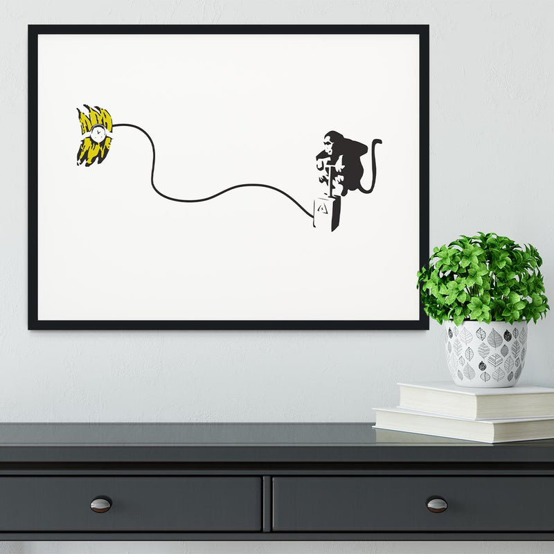 Banksy Monkey Banana Bomb Framed Print - Canvas Art Rocks - 1