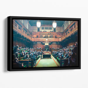 Banksy Monkey Parliament Floating Framed Canvas