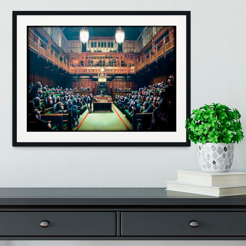 Banksy Monkey Parliament Framed Print - Canvas Art Rocks - 1