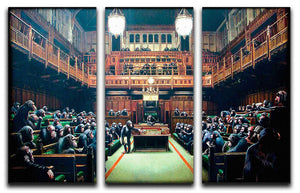 Banksy Monkey Parliament 3 Split Panel Canvas Print - Canvas Art Rocks