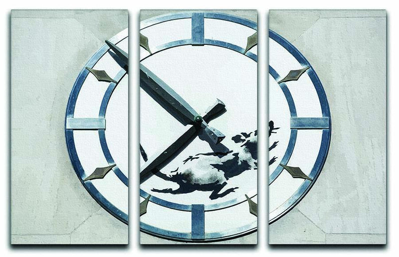 Banksy New York Clock Rat 3 Split Panel Canvas Print - Canvas Art Rocks - 1