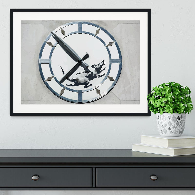 Banksy New York Clock Rat Framed Print - Canvas Art Rocks - 1