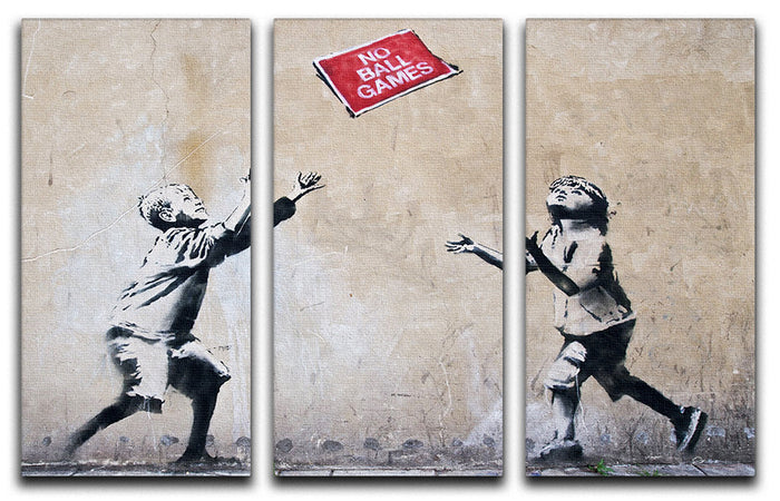 Banksy No Ball Games 3 Split Panel Canvas Print