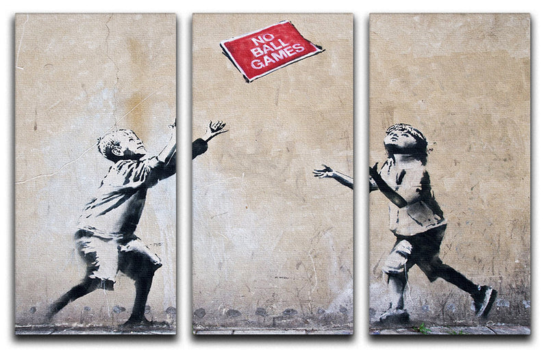 Banksy No Ball Games 3 Split Panel Canvas Print - Canvas Art Rocks