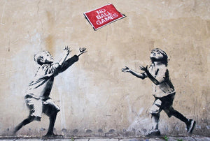 Banksy No Ball Games Wall Mural Wallpaper - Canvas Art Rocks - 1