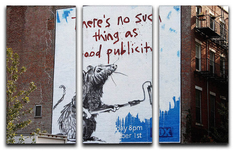 Banksy No Such Thing As Good Publicity 3 Split Panel Canvas Print - Canvas Art Rocks