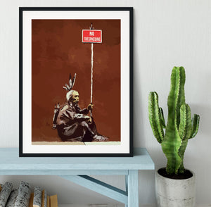 Banksy No Trespassing Framed Print - Canvas Art Rocks - 1
