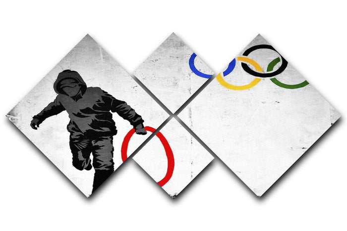 Banksy Olympic Rings Looter 4 Square Multi Panel Canvas