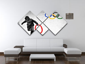 Banksy Olympic Rings Looter 4 Square Multi Panel Canvas - Canvas Art Rocks - 3