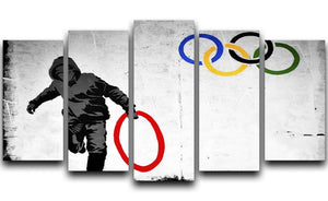 Banksy Olympic Rings Looter 5 Split Panel Canvas  - Canvas Art Rocks - 1