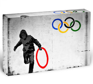 Banksy Olympic Rings Looter Acrylic Block - Canvas Art Rocks - 1