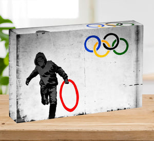Banksy Olympic Rings Looter Acrylic Block - Canvas Art Rocks - 2