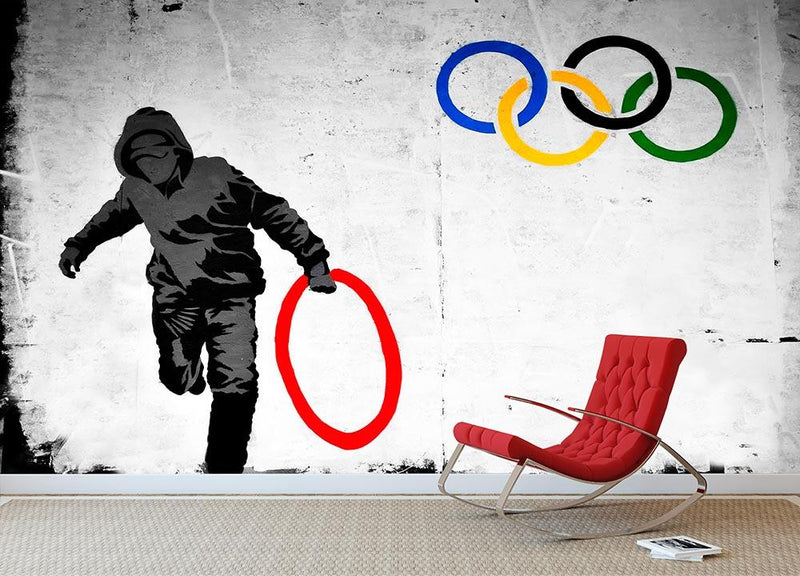 Banksy Olympic Rings Looter Wall Mural Wallpaper - Canvas Art Rocks - 1