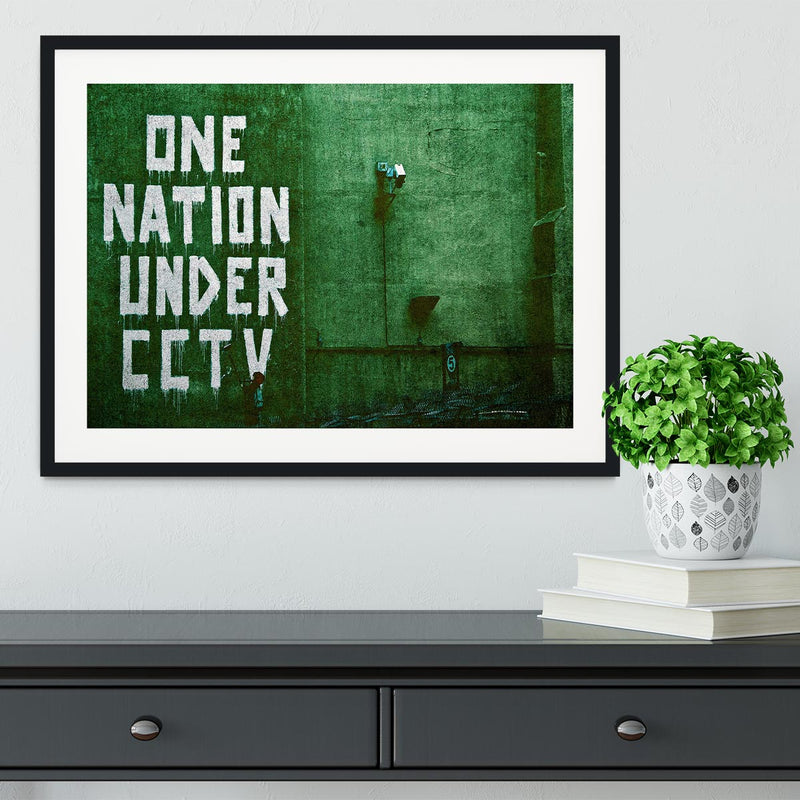 Banksy One Nation Under CCTV Framed Print - Canvas Art Rocks - 1