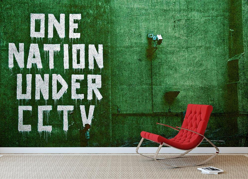 Banksy One Nation Under CCTV Wall Mural Wallpaper - Canvas Art Rocks - 1