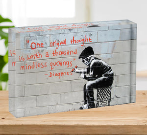 Banksy One Original Thought Acrylic Block - Canvas Art Rocks - 2