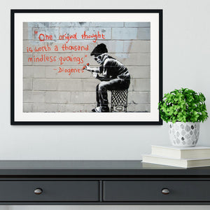 Banksy One Original Thought Framed Print - Canvas Art Rocks - 1