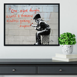 Banksy One Original Thought Framed Print - Canvas Art Rocks - 2