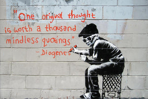 Banksy One Original Thought Wall Mural Wallpaper - Canvas Art Rocks - 1