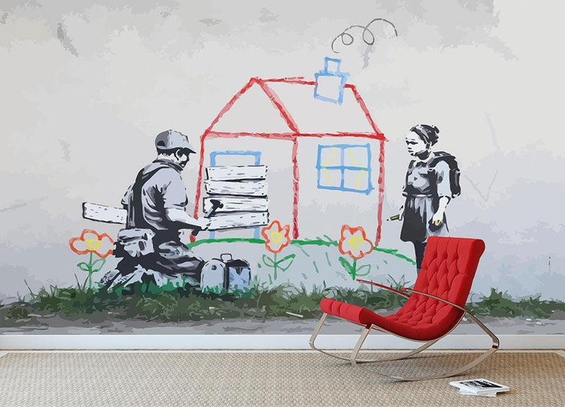 Banksy Play House Wall Mural Wallpaper - Canvas Art Rocks - 1