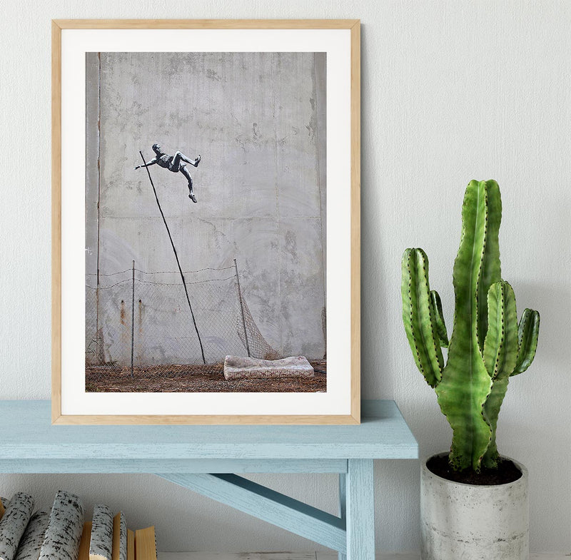 Banksy Pole Vaulter Framed Print - Canvas Art Rocks - 3