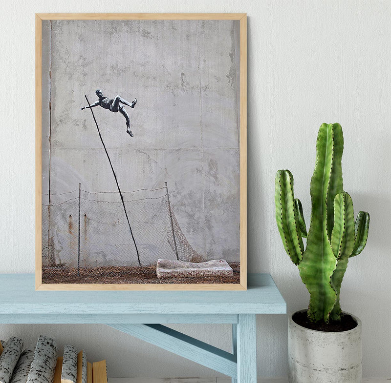 Banksy Pole Vaulter Framed Print - Canvas Art Rocks - 4