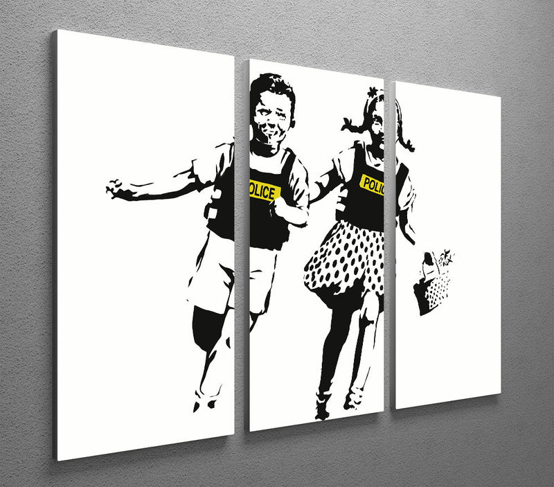 Banksy Police Kids 3 Split Panel Canvas Print - Canvas Art Rocks
