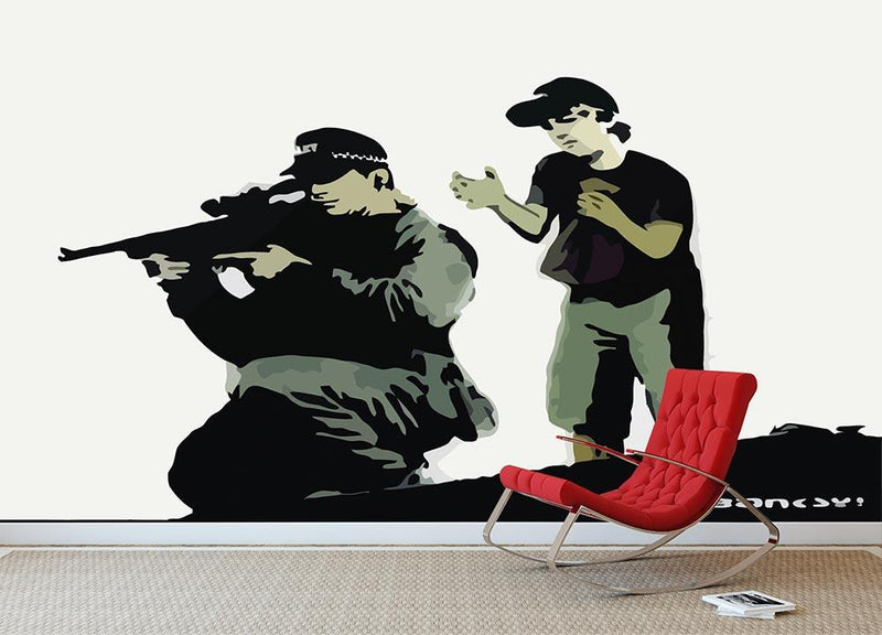 Banksy Police Sniper Wall Mural Wallpaper - Canvas Art Rocks - 1
