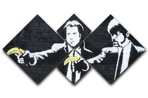 Banksy Pulp Fiction Banana Guns 4 Square Multi Panel Canvas  - Canvas Art Rocks - 1