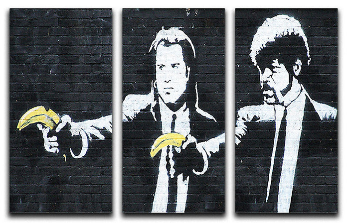 Banksy Pulp Fiction Banana Guns 3 Split Canvas Print