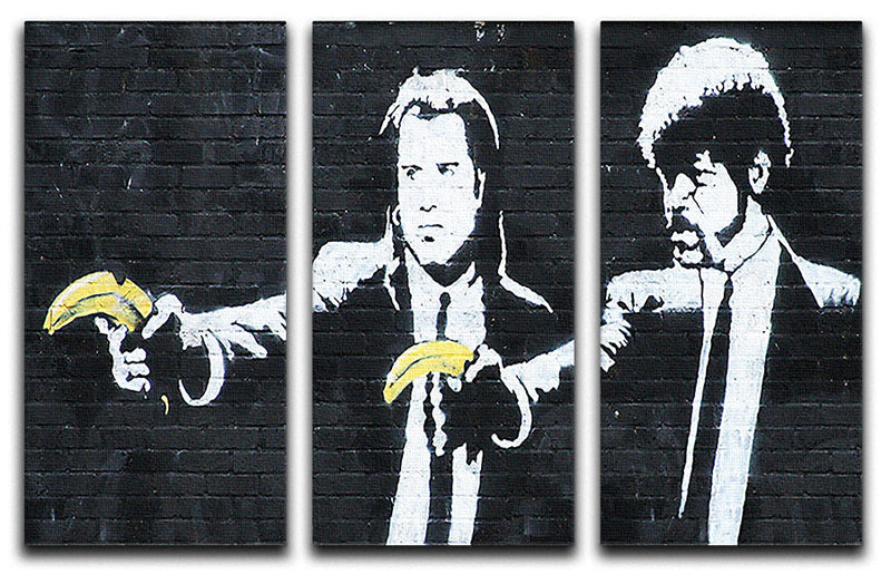 Banksy Pulp Fiction Banana Guns 3 Split Canvas Print - Canvas Art Rocks