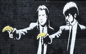 Banksy Pulp Fiction Banana Guns Wall Mural Wallpaper - Canvas Art Rocks - 1