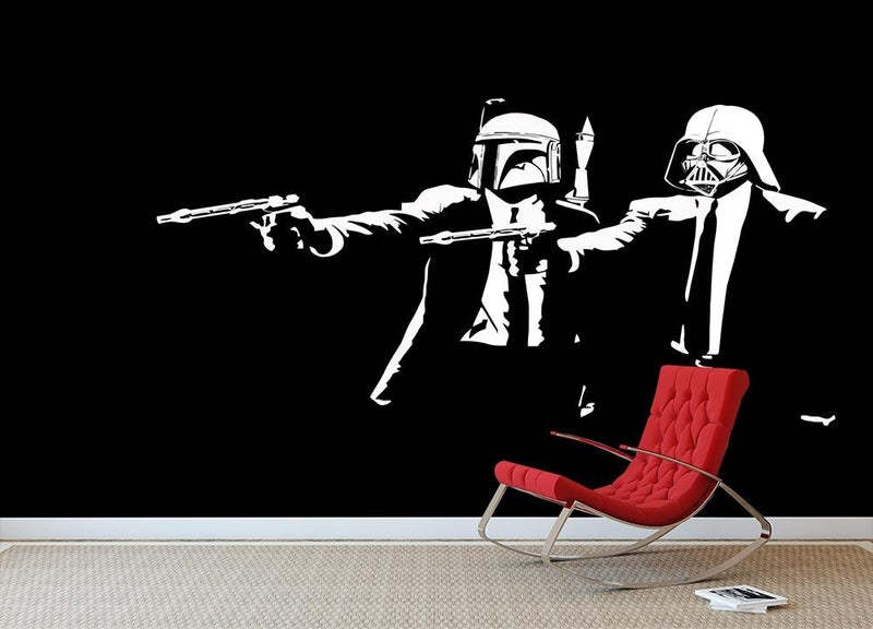 Banksy Pulp Fiction Star Wars Wall Mural Wallpaper - Canvas Art Rocks - 1