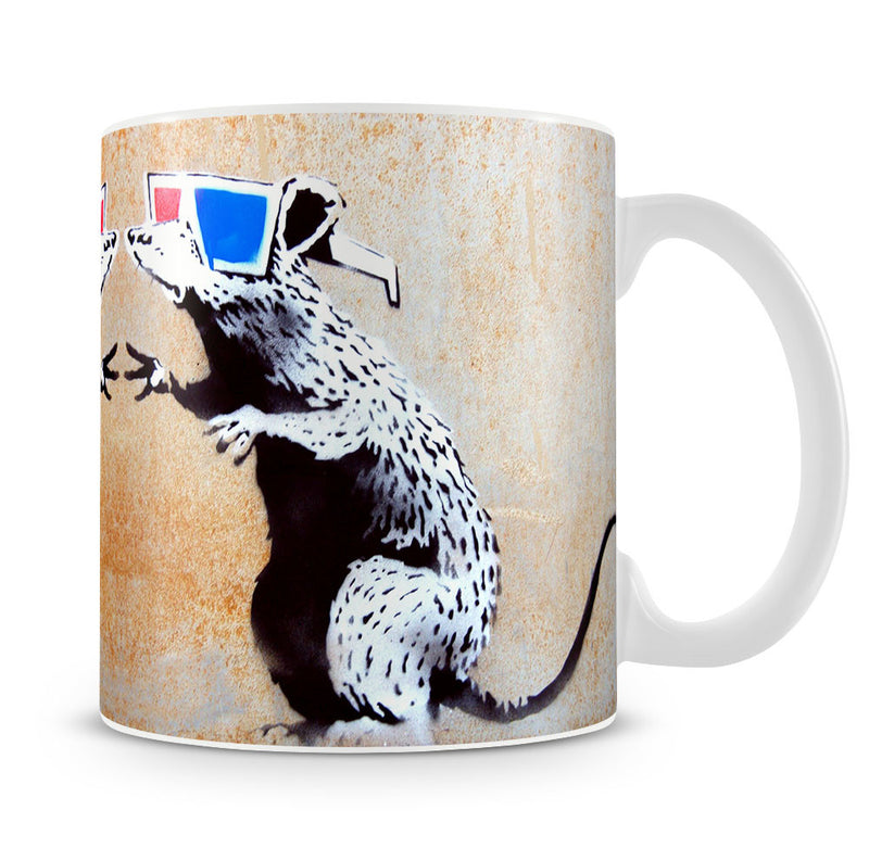 Banksy Rat Wearing 3D Glasses Mug - Canvas Art Rocks