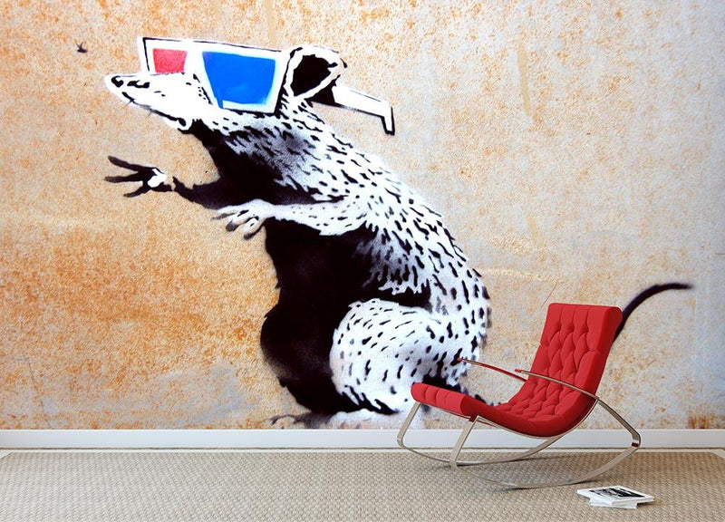 Banksy Rat Wearing 3D Glasses Wall Mural Wallpaper - Canvas Art Rocks - 1