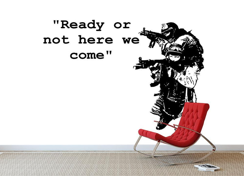 Banksy Ready Or Not Wall Mural Wallpaper - Canvas Art Rocks - 1