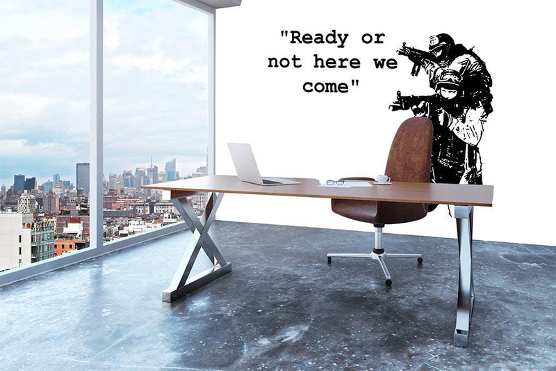 Banksy Ready Or Not Wall Mural Wallpaper - Canvas Art Rocks - 3