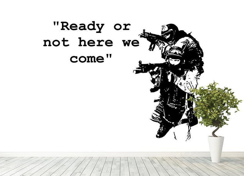 Banksy Ready Or Not Wall Mural Wallpaper - Canvas Art Rocks - 4