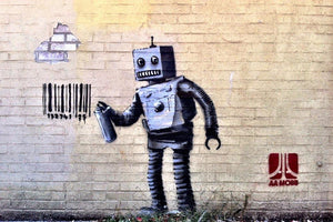 Banksy Robot Wall Mural Wallpaper - Canvas Art Rocks - 1