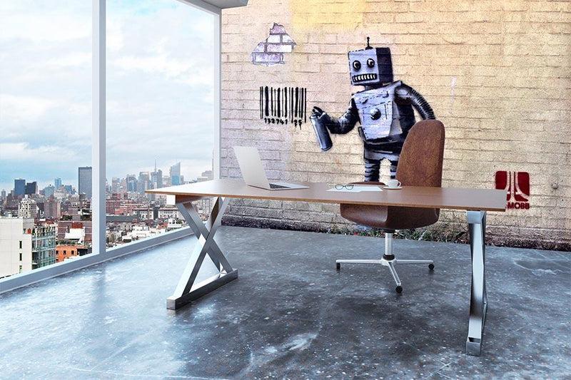 Banksy Robot Wall Mural Wallpaper - Canvas Art Rocks - 3